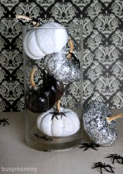Black and White Glitter Pumpkin Centerpiece